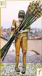 The Ten of Wands tarot card meaning