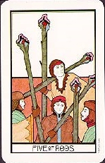 meaning of the Five of Wands  tarot card
