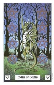 The Eight of Coins tarot card meaning