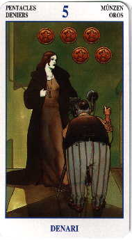 meaning of the Five of Pentacles  tarot card