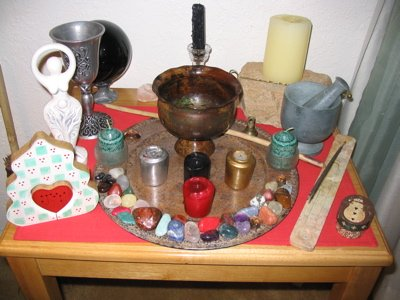 photo of wiccan altar