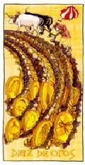 The Ten of Coins tarot card meaning