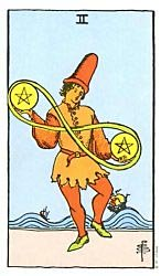 Two of Coins Tarot card meaning