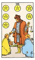 Six of Coins Tarot card meaning